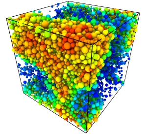 Gas-liquid phase separation in a highly polydisperse simulated fluid. Novel characterisation methods are used to study which particles end up where.
